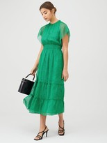 Whistles Sketched Floral Frill Sleeve Dress - Green/Multi