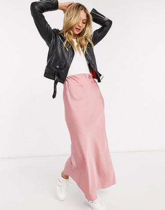 Asos DESIGN satin bias maxi skirt in pink