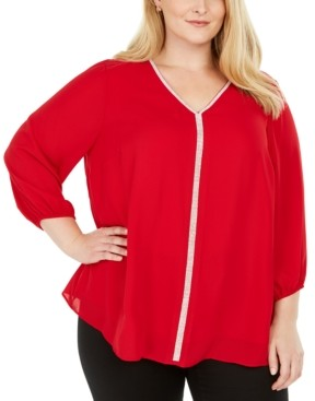 JM Collection Plus Size Glitter-Stripe Top, Created for Macy's