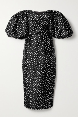 Rasario Off-the-shoulder Polka-dot Silk-organza Midi Dress - Black