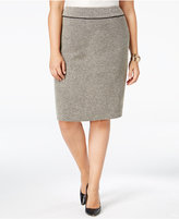 Kasper Plus Size Tweed Faux-Suede Trim Pencil Skirt