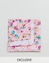 Reclaimed Vintage Inspired Pocket Square In Pink Floral Print