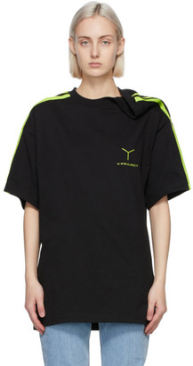 Y/Project Black and Green Y Logo Clipped Shoulder T-Shirt