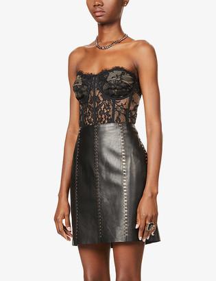 Alexander McQueen Embellished high-waist leather mini skirt