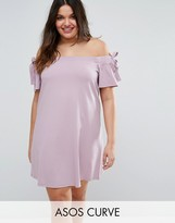 Asos Off Shoulder Dress with Tie Sleeve Detail
