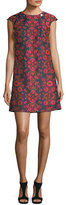 Trina Turk Floral-Jacquard Cap-Sleeve Shift Dress w/ Buttons