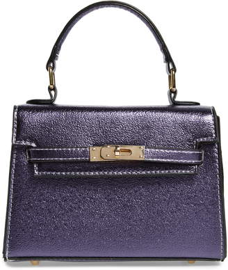 Knotty Textured Metallic Faux Leather Top Handle Bag