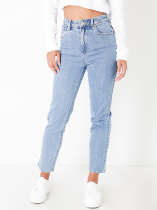 Abrand '94 High Rise Slim Leg Mom Jeans in Georgia Blue Denim