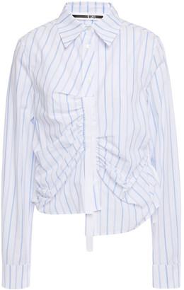 McQ Asymmetric Ruched Striped Cotton-poplin Shirt