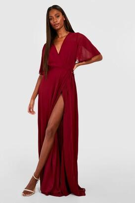 boohoo Chiffon Angel Sleeve Wrap Maxi Bridesmaid Dress