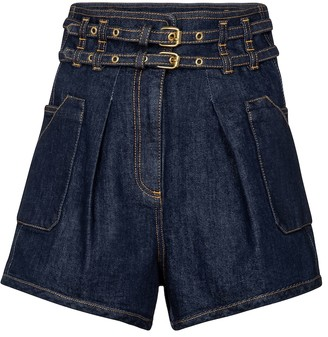 Philosophy di Lorenzo Serafini High-rise belted denim shorts