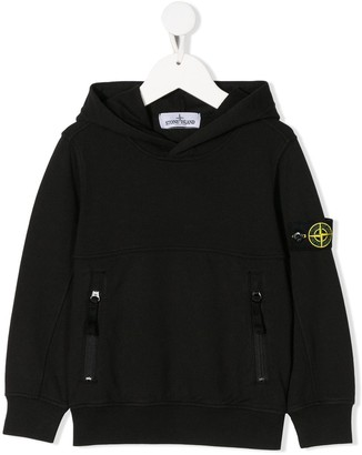 Stone Island Junior Compass Badge Logo Hoodie