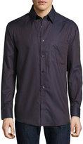 Neiman Marcus Classic-Fit Non-Iron Herringbone-Striped Sport Shirt, Brown