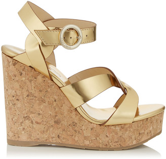 Jimmy Choo ALEILI 120 Gold Mirror Leather Wedge with Buckle