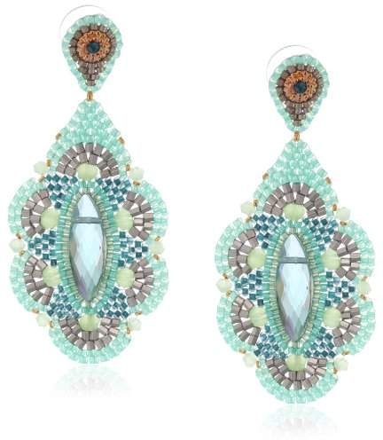 Miguel Ases Prehnite and Rainbow Created Quartz Drop Earrings