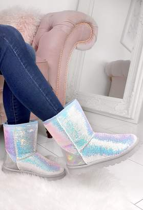 Pink Boutique Sprinkles White Mermaid Sequin Faux Fur Lined Boots