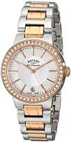 Rotary Women's Quartz Watch with White Dial Analogue Display and Rose Gold Plated Silver Stainless Steel Bracelet LB90083/02L