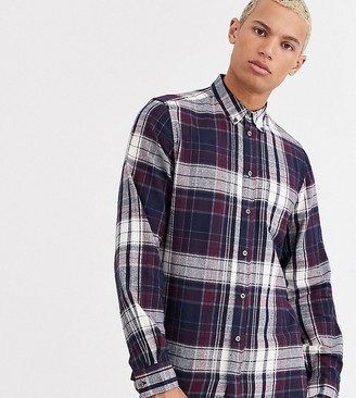 French Connection Tall multi flannel check shirt-Red