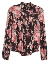Lucky Brand Women's Smock Neck Floral Top
