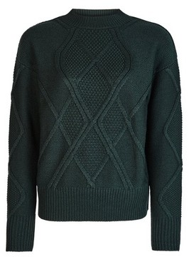 Dorothy Perkins Womens Green High Neck Cable Jumper, Green