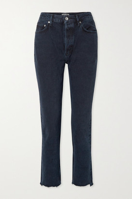 AGOLDE Remy Cropped High-rise Straight-leg Jeans - Indigo