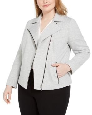 Bar III Trendy Plus Size Ponte-Knit Moto Jacket