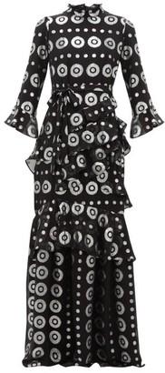 Saloni Marissa Metallic Silk-blend Jacquard Maxi Dress - Womens - Black Silver