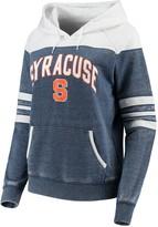 Unbranded Women's Navy/White Syracuse Orange Blitz Sleeve Striped Blocked Raglan Hoodie