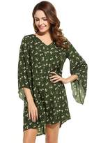 Zeagoo Women's Floral Long Sleeve V-Neck A-line Tunic Casual Dress