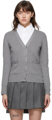 Thom Browne Online Exclusive Grey Milano Stitch Intarsia RWB Stripe Cardigan