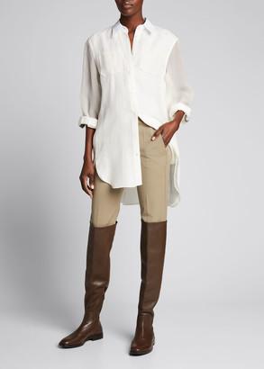 Brunello Cucinelli Linen Button-Down Tunic w/ Organza Sleeves