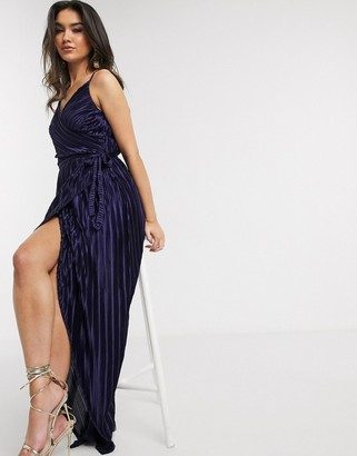 Girl In Mind pleated wrap maxi dress in navy