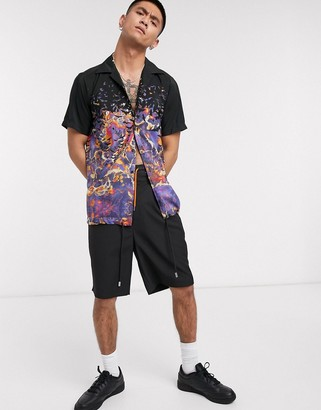 Blood Brother popper coaches shirt in all-over print