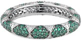 Ri Noor Lotus Eternity Band With White Diamond Petals & Pave Set Emeralds