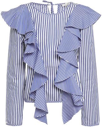 Milly Ruffled Striped Cotton-poplin Blouse