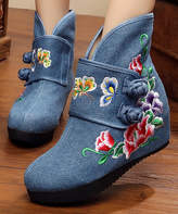 Denim Blue Floral Embroidered Strap-Accent Ankle Boot