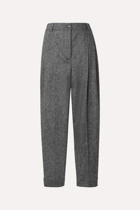 Burberry Melange Wool-blend Tapered Pants - Gray