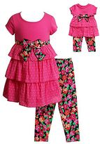 Dollie & Me Girls 4-14 Tiered Polka-Dot Dress & Floral Capri Leggings Set