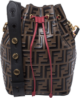 Fendi Tricolor Zucca Leather Mon Tresor Grande Bucket Bag