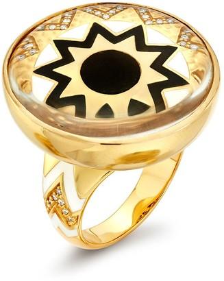 BUDDHA MAMA 20kt Yellow Gold Black Sun Crystal Dome Ring