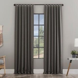 Clean Window Heathered Texture Recycled Fiber Semi-Sheer Tab Top Curtain Panel
