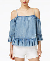 Velvet Heart Verna Denim Ruffled Cold-Shoulder Top
