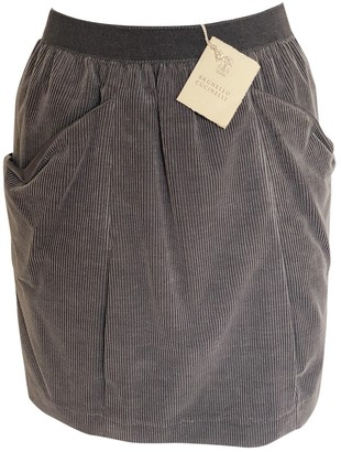 Brunello Cucinelli Grey Velvet Skirt for Women