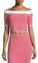 Jonathan Simkhai Gingham Stretch Off-the-Shoulder Crop Top, Red/White