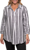 Yarra Trail Woman 3/4 Stripe Linen Shirt