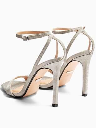 Topshop Saskia High Heel Stiletto Sandal - Silver