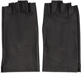 Attachment Black Leather Fingerless Gloves