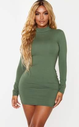 PrettyLittleThing Shape Khaki Cotton High Neck Bodycon Dress