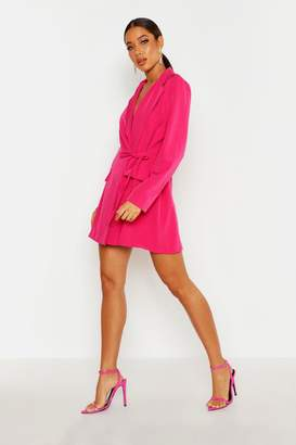 boohoo Belted Wrap Blazer Dress