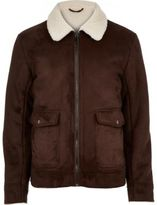 River Island Dark Brown Faux Suede Jacket